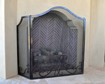 Hand forged outdoor fireplace screen