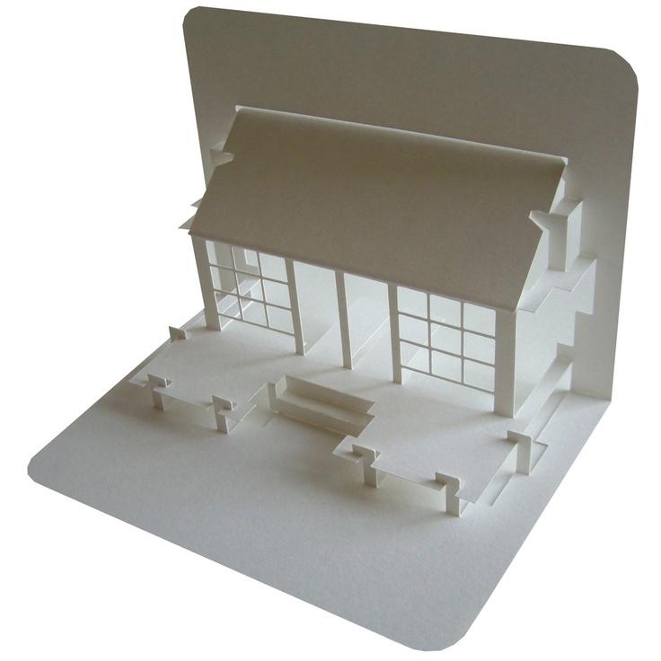 Pop-up paper-cut tea house.   White on white   Pinterest