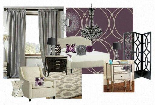 Beautiful Purple Hollywood Glam Bedroom New House Pinterest