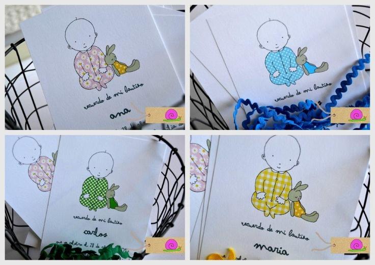 Recordatorios de Bautizo para niños y para niñas. www.decoracionparafiestas.net