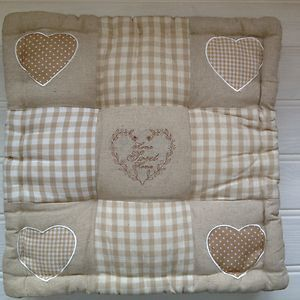 shabby chic french country heart linen seat cushion pad