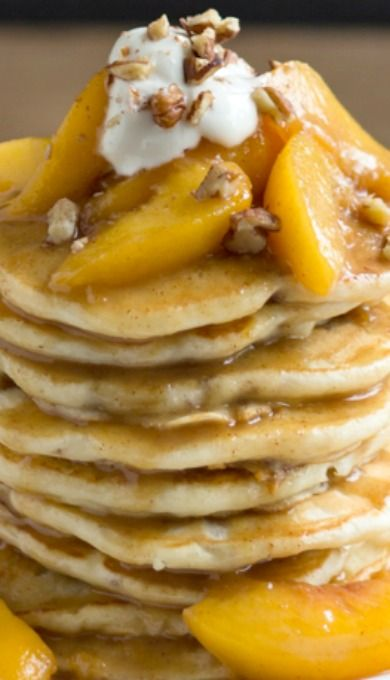 Toasted Pecan Pancakes with Brown Butter Bourbon Peach Syrup | Recipe