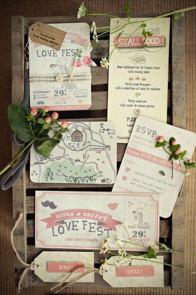 summer fete wedding invitations%0A festival style wedding invitations   see more  http   onefabday com