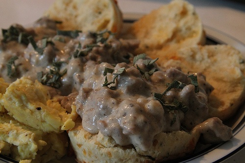 Biscuits & Gravy: Homemade cheddar cheese and sage cream biscuits ...