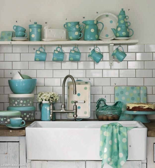 Turquoise Polka Dot Kitchen Accessories cute home inspire kitchen polka dots style decorate turquoise accessories ideas