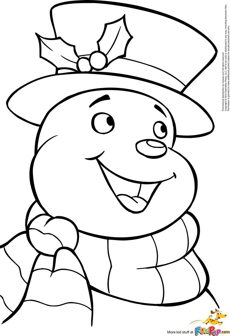 Printable jolly snowman coloring page to print and color