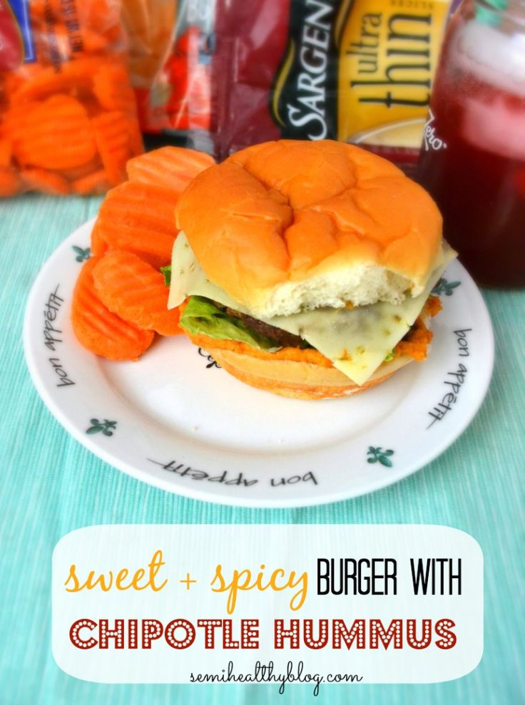 sweet and spicy burger with chipotle hummus via @semihealthnut at ...