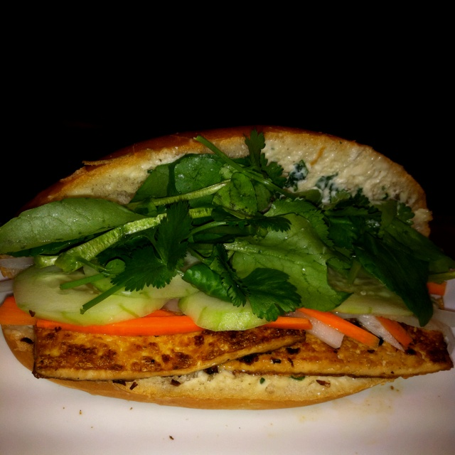bánh mì vegetarian version has savory slices of lemongrass ...