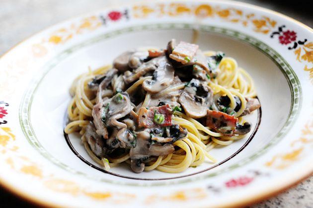 pasta w/ bacon + mushrooms | The Pioneer Woman
