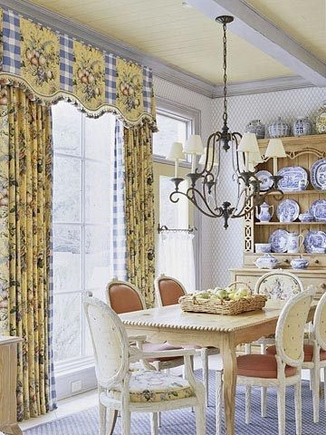 Blue and yellow dining room french country pinterest - French country kitchen window treatments ...