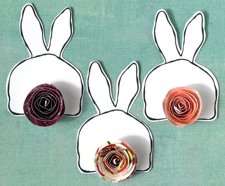 Bunny Butts  - three paper bunny accents with paper rose tails. $10.50 USD, via Etsy.
