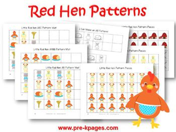 Printable Little Red Hen Pattern Activities for preschool and ...