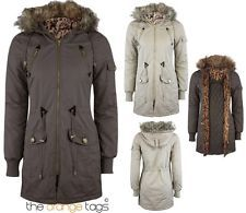 WOMENS PARKA MILIATRY JACKET LADIES FUR HOODED PADDED COATS in Clothes