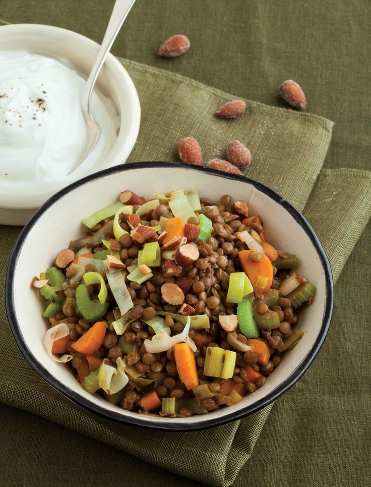 Spiced Lentil Bowl with Yogurt and Smoked Almonds Recipe | Vegetarian ...