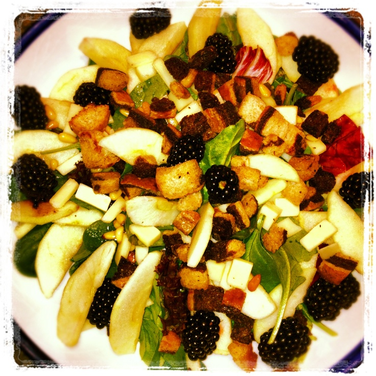 salad including blackberries, tart apples, aged white cheddar ...