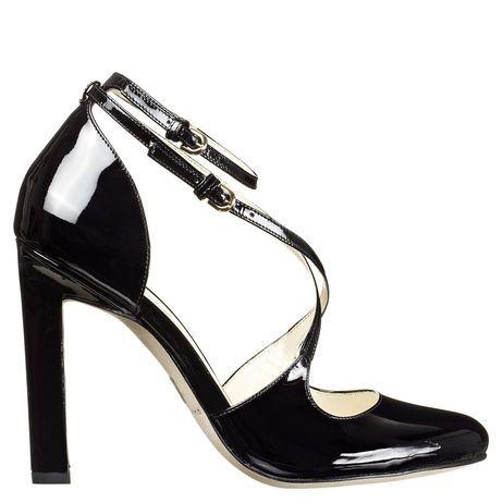 Single sole strappy round toe pump with razor edge heel