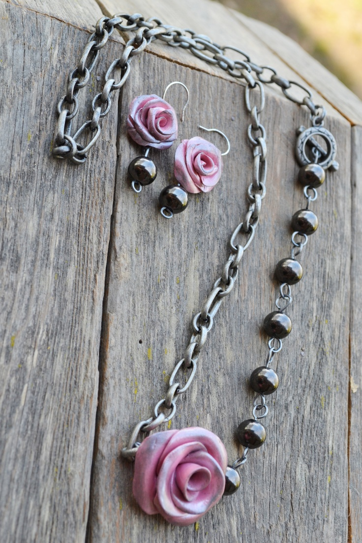 Pink roses with steel beads