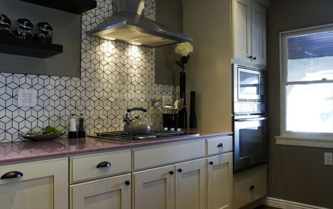 really like the geometric backsplash or using colored grout to make