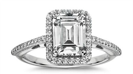 Emerald Cut Halo Diamond Engagement Ring from Blue Nile, $1,675 (setting only).