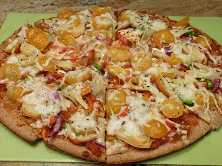 Veggie Pizza on Boboli Whole Wheat Crust | Nutritarian | Pinterest