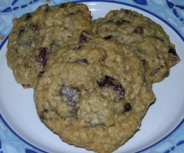 Chocolate Chunk and Dried Cherry Oatmeal Cookies*