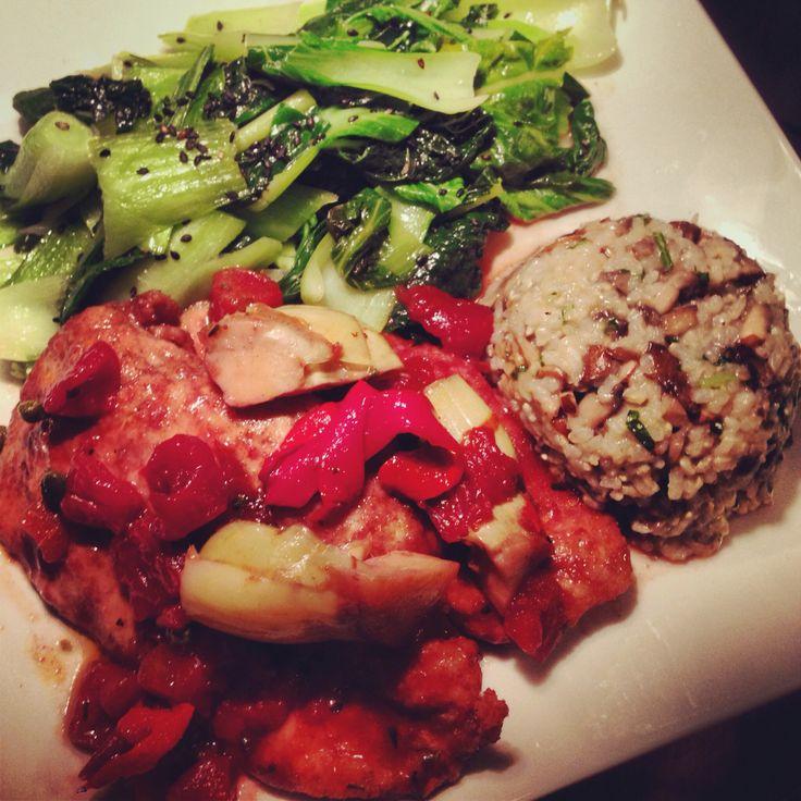 Chicken Breast in Red Wine Tomato Caper Artichoke Sauce, Brown Rice ...