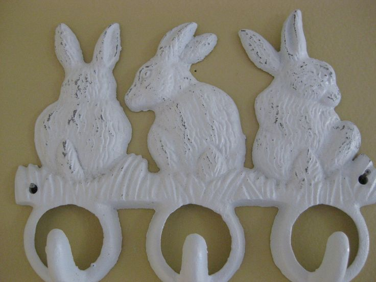 nursery rabbit theme | bunny rabbit hooks shabby white cast iron hanger by riricreations