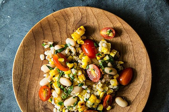 Grilled corn & barley salad with tomato vinaigrette - Eat Your Books ...