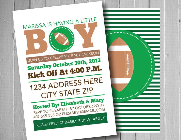 football baby shower invitation sports theme boy baby shower ideas