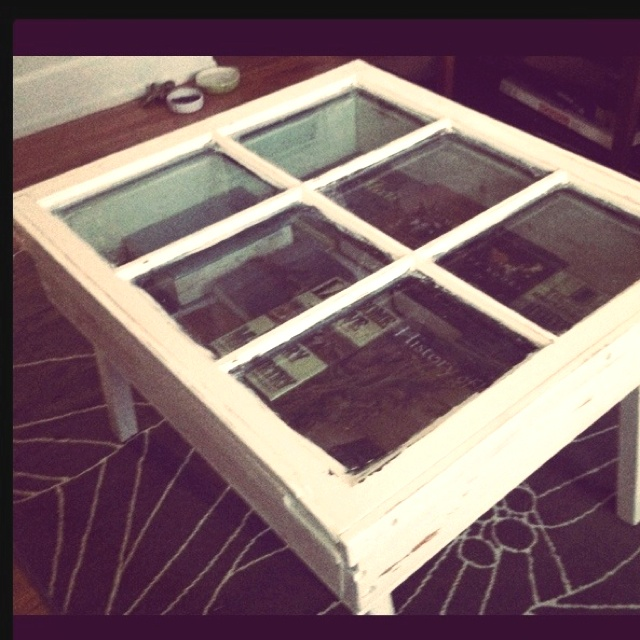 vintage window to coffee table