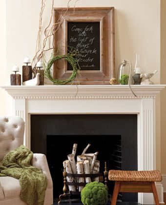 earthy mantel decorating #diy