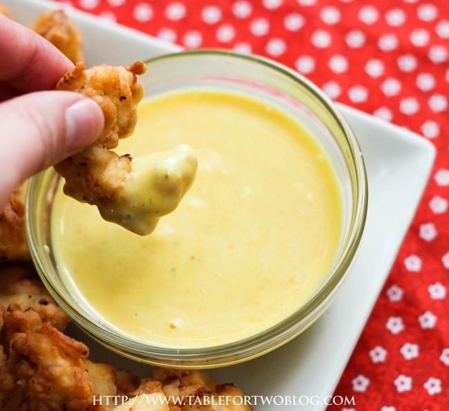 Chick-Fil-A sauce  ~  1/2 cup mayo,  2 tbsp. mustard (regular prepared yellow mustard),  1/2 tsp. garlic powder,  1 tbsp. vinegar,  2 tbsp. honey,  Salt and pepper, to taste