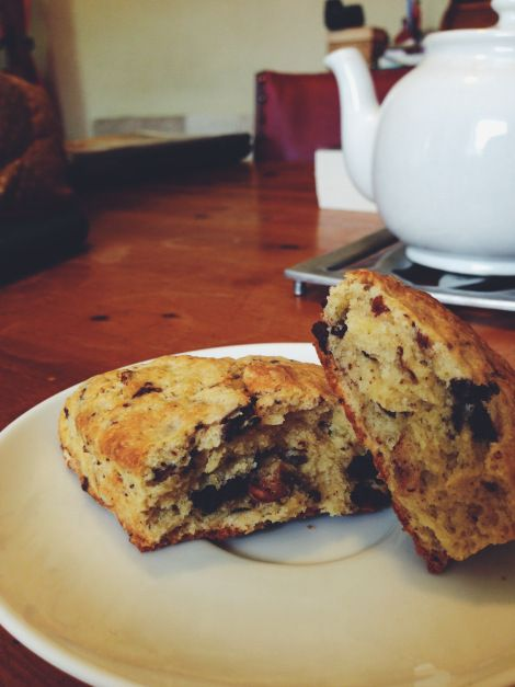Hazelnut dark chocolate scones from Fibre & Spice