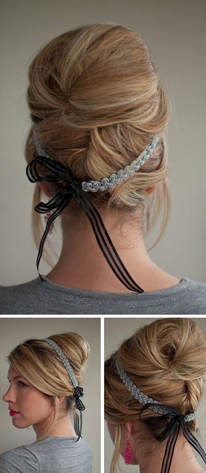Classic beehive chignon updo with ribbon headband