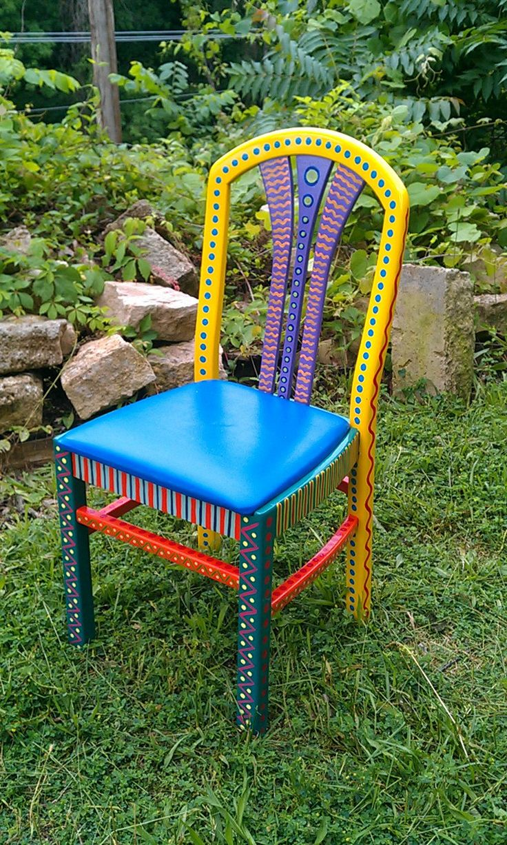 Hand painted furniture chair colorful crazy yellow back for Hand painted furniture