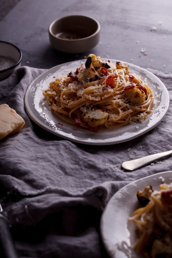 Linguini with Roasted Cauliflower and Bacon | Simply Delicious
