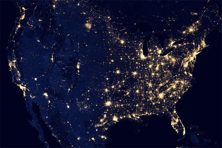 "This image of the United States of America at night is a composite assembled from data acquired by the Suomi NPP satellite in April and October 2012. The image was made possible by the new satellite's ""day-night band"" of the Visible Infrared Imaging Radiometer Suite (VIIRS), which detects light in a range of wavelengths from green to near-infrared and uses filtering techniques to observe dim signals such as city lights, gas flares, auroras, wildfires, and reflected moonlight."