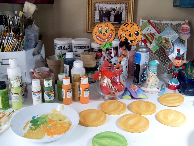 Messy desk with soon to be Halloween Shakers by holidaysparkle, via Flickr