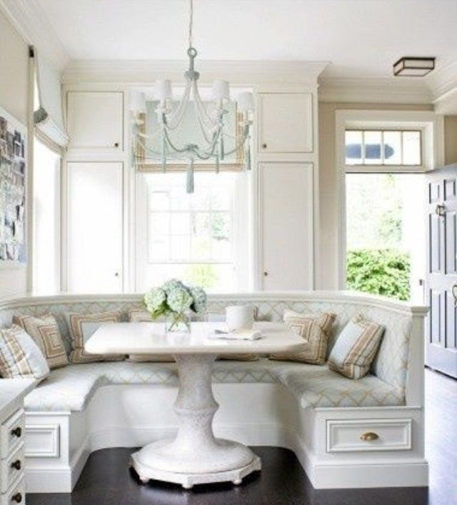 Blue and tan kitchen booth, too fussy for me but pretty