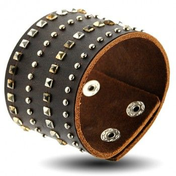 Brown Leather Bracelet with square and Round Rivets