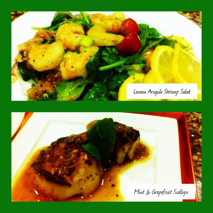 Lemon Shrimp Arugula Salad & Mint Grapefruit Seared Scallops