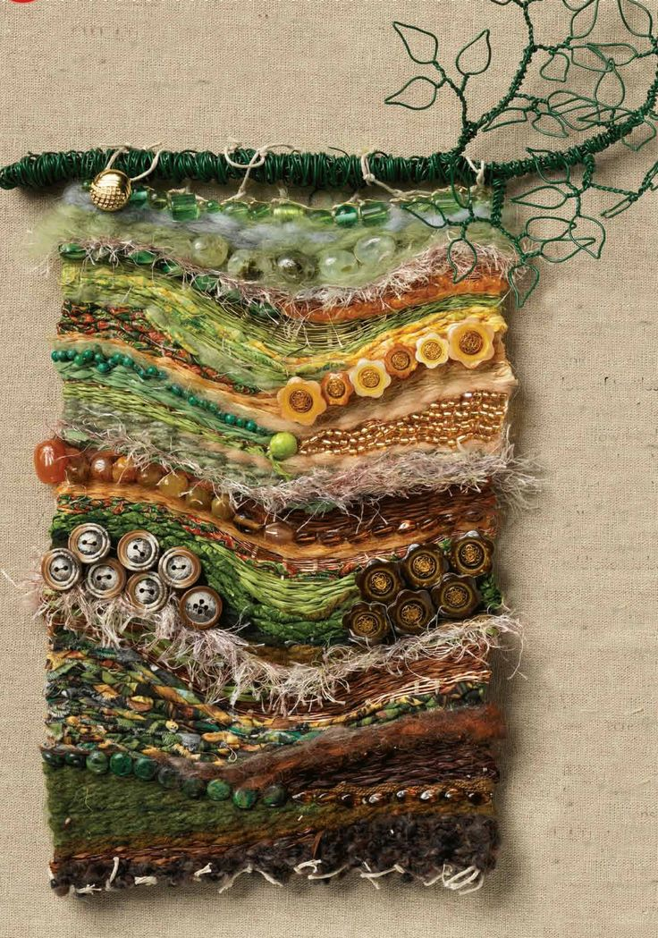 Multi material weaving my mixed media pinterest - Cloth wall hanging designs ...