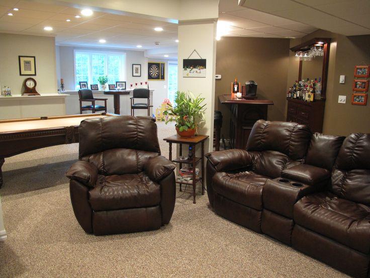 new warm basement space provided by owens corning basement finishing