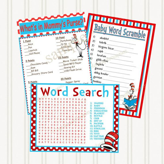 dr seuss cat in the hat baby shower printable games 3 pack
