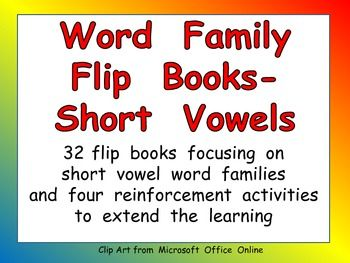 This packet includes 32 flip books, each focusing on a different short vowel word family. Students cut apart the word cards and stack them. Then they staple or glue the stack to create a flip book. Students can practice reading these words over and over to achieve fluency!!   In addition to the 32 flip books, there are 4 reinforcement activities, in which students write the words, stamp the words, illustrate the words, and write/illustrate a sentence using the words. Lots of different levels! $5