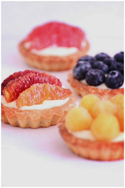 dab of cream cheese fruit dip inside and place diced fruit on top to ...