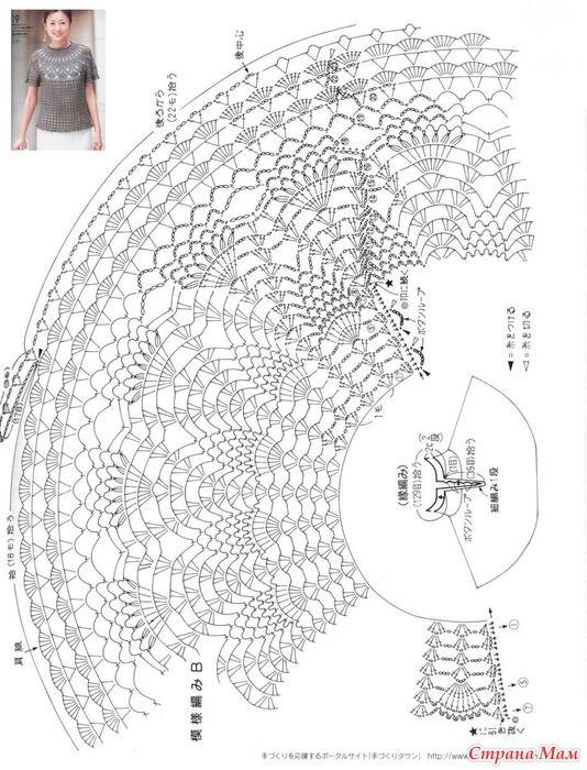 Схема вязания кокетки крючком круглой кокетки 88