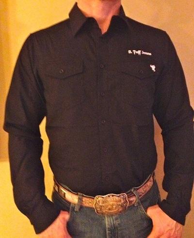 B Tuff | Mens Black Button Down Shirt | White Logo