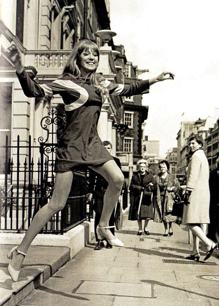 Pattie Boyd in London's West End, showing off a design of the Quorum Autumn Collection, designed by Ossie Clark - 21 April 1966
