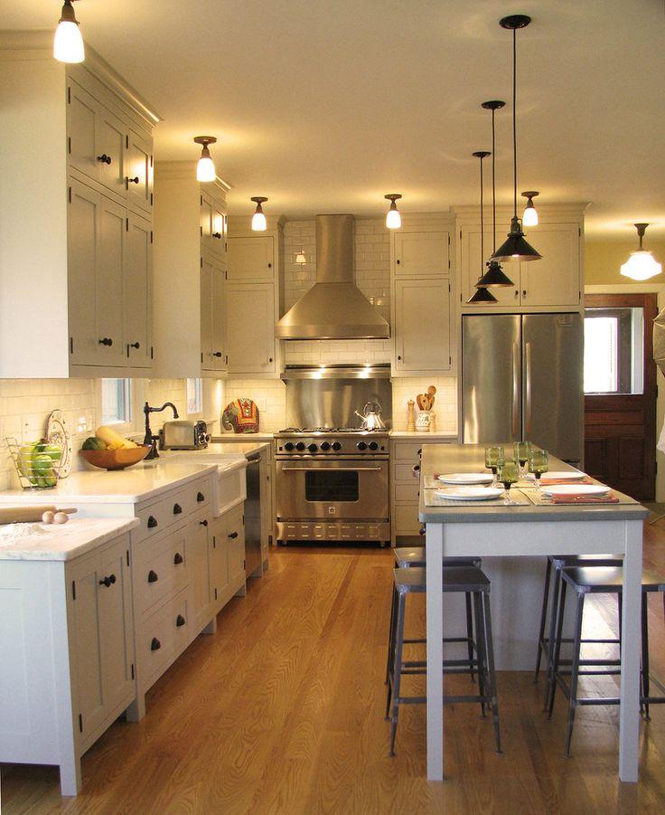Amazing farmhouse kitchen with concrete countertops. NOTE: marble ...